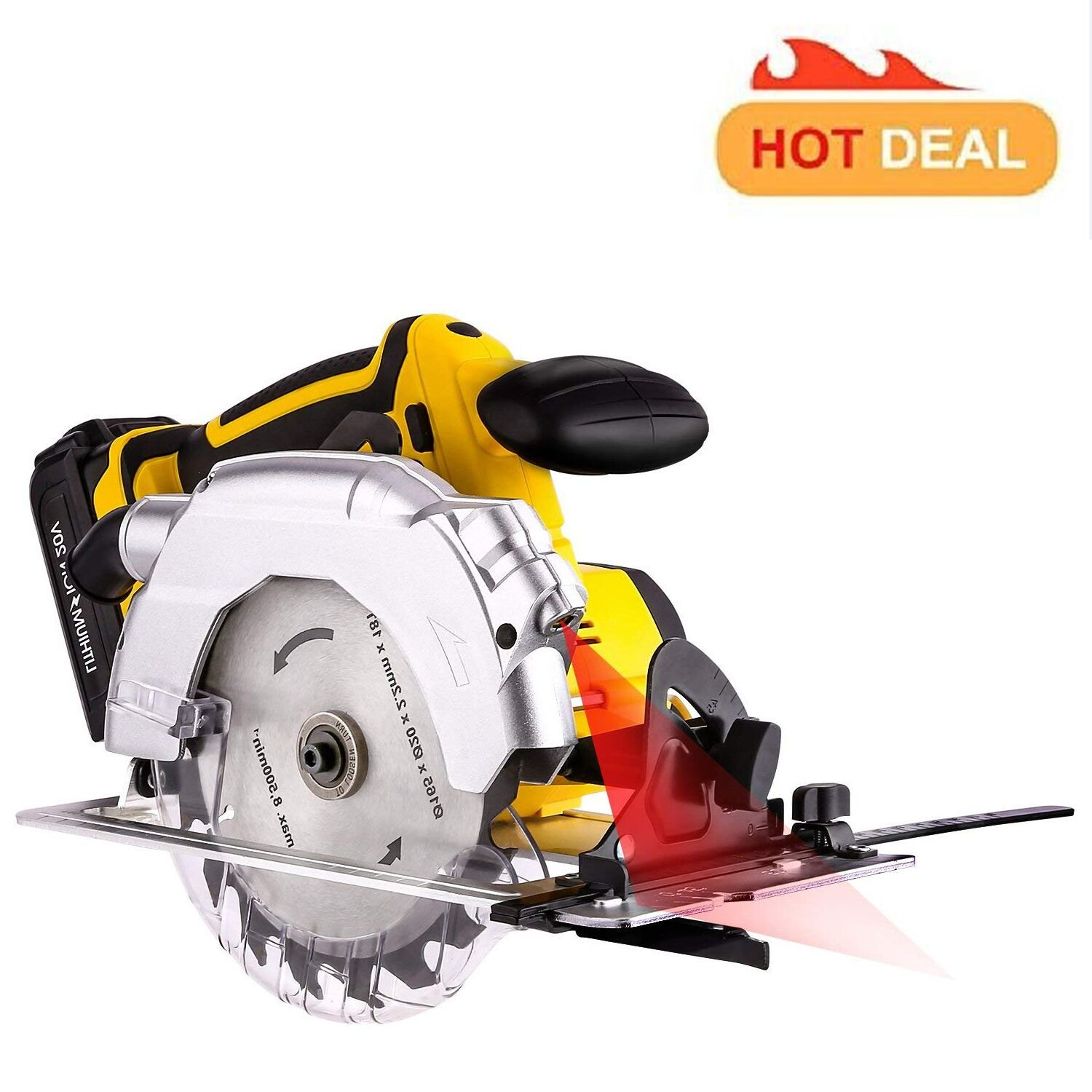 165mm Wood Cutting Tools Electric Hand Circular Saw, 7000rpm Max Speed Rating Saw Blade with Lightweight Safety Guard, Guide Ruler, 2000mAh Li-ion Battery and Charger Adapter Included (Yellow)