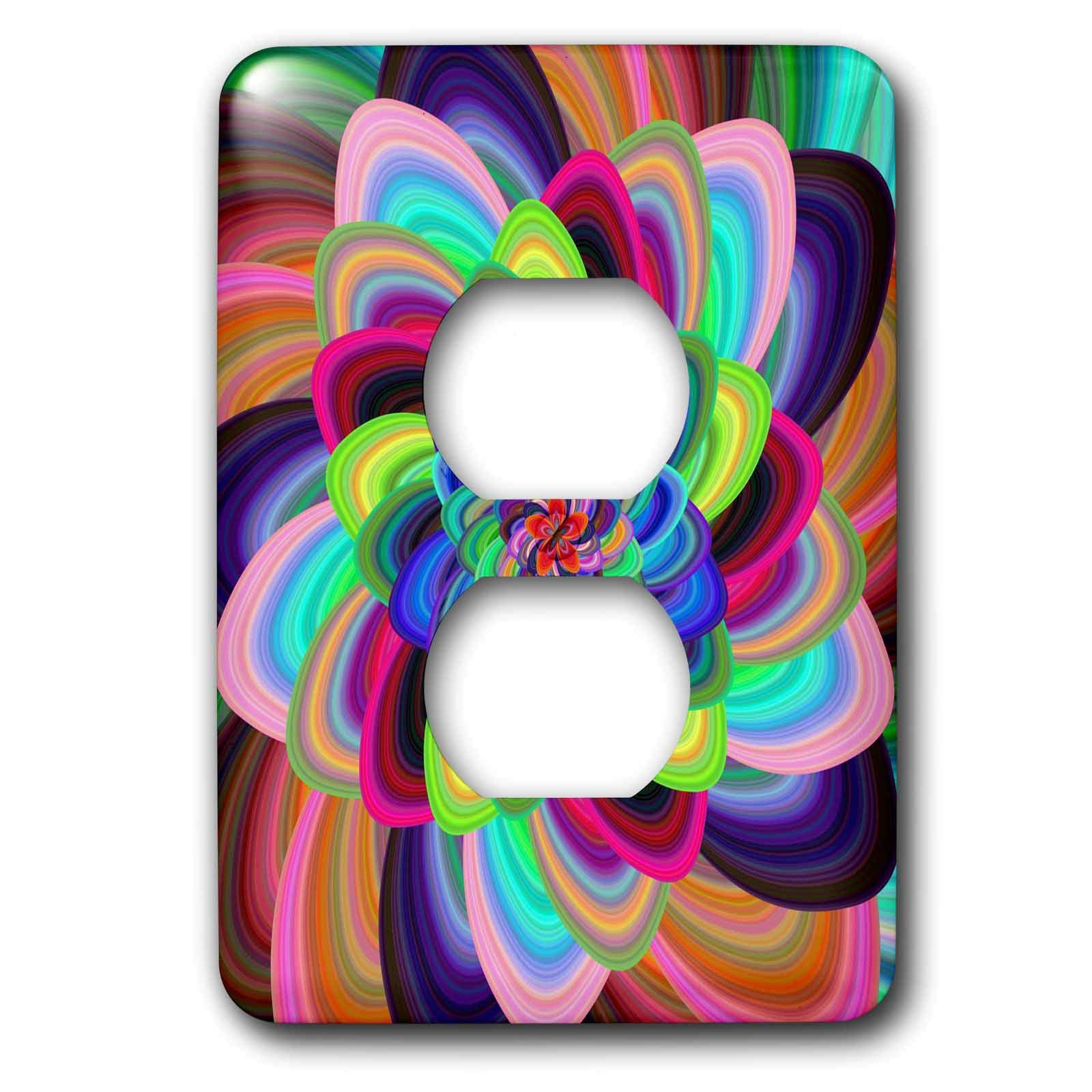 3dRose David Zydd - Floral Designs - Colorful Floral Spiral - abstract floral artwork - Light Switch Covers - 2 plug outlet cover (lsp_289120_6)