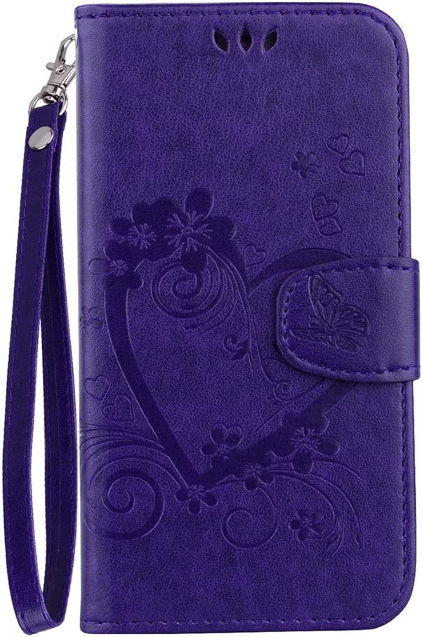 XYX Love Heart PU Leather Case Cover for iPod Touch 7/iPod 6/iPod 5 (Purple)