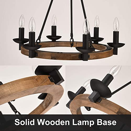 GZBtech Farmhouse Wagon Wheel Chandeliers, 6-Light Iron Wood Rustic Pendant Lighting in Black Finish for Kitchen Island, 22.83 H Adjustable Hanging Lights for Dining Living Room Over The Table
