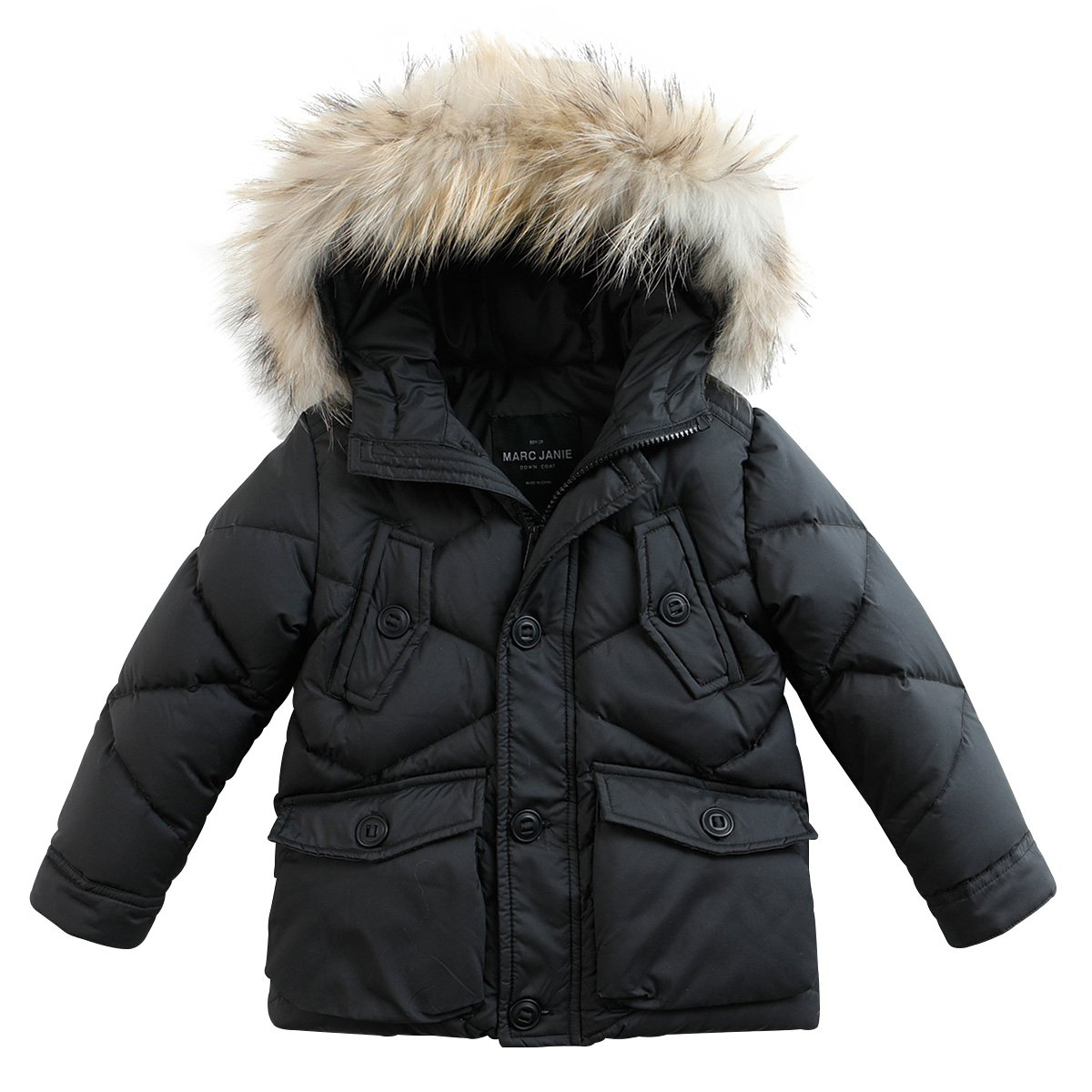 marc janie Baby Boys Kids' Lightweight Down Jacket With Raccoon Fur Collar Hood Puffer Winter Coat Black 3T