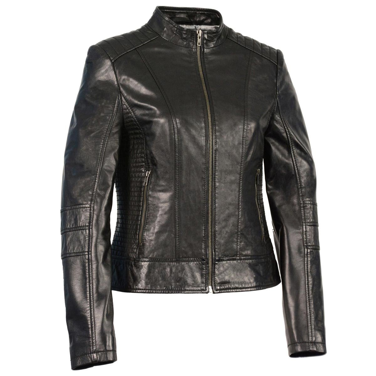 e20f36d0 Top7: Milwaukee Leather Womens Zip Front Stand Up Collar Black Leather  Jacket - X-Small