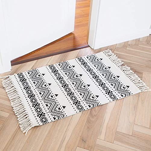 Boho Bathroom Rug Moroccan Bath Mat 2 x3 Cotton Small Throw Rug with Tassel, Woven Fringe Rug for Doorway Kitchen Bedroom Laundry, Decorative Floor Rug Printed Bohemian Pattern, Washable Nonslip