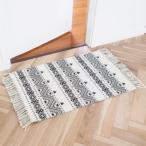 Boho Bathroom Rug Moroccan Bath Mat 2 x3 Cotton Small Throw Rug