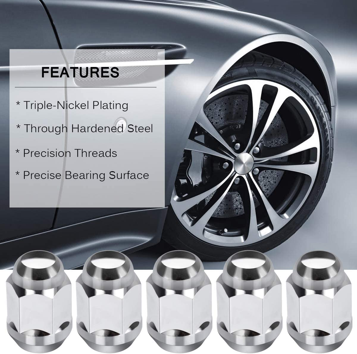 NPAUTO Lug Nut 14 x 1.5 Chrome Replacement for 2005 2006 2007 2008 2009 2010 Chrysler 300 2015-2019 Ford Mustang Edge Closed End 13//16 Hex 08-10 Dodge Challenger Charger Pack of 20