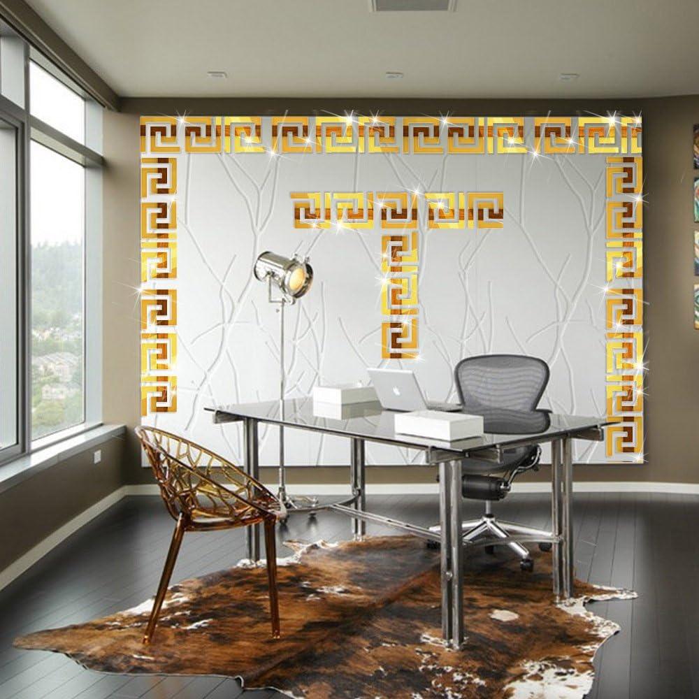 Mirror Border Itta X Large 25 Pcs X 15x15cm Diy 3d Acrylic Maze Pattern Border Ceiling Stickers Mirror Effect Wall Decor Home Art Mural Wedding Room Hotel Decal Gold Amazon Com