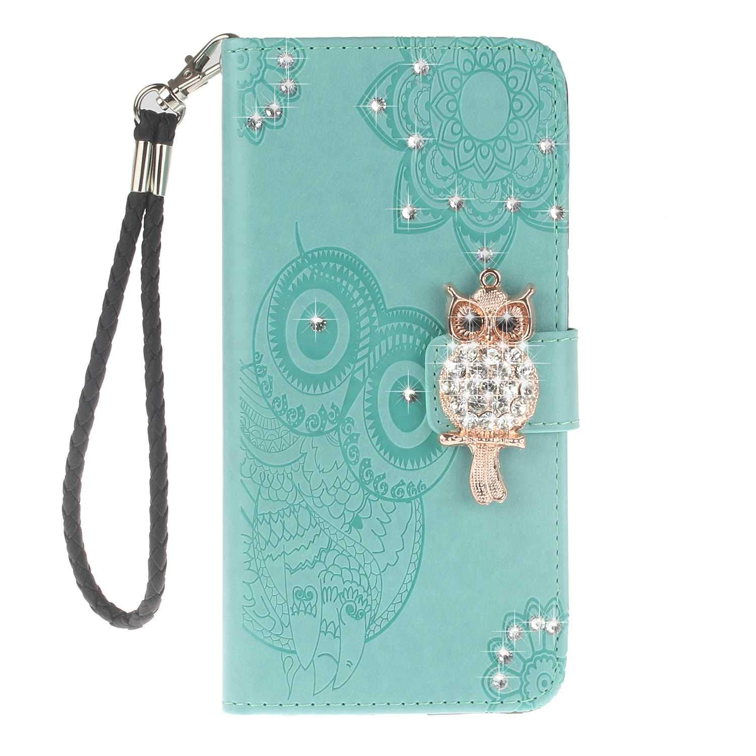 Bear Village Sony Xperia XZ2 Case, Leather Case with Wrist Strap and Credit Card Slot, Owl Magnetic Closure Shockproof Cover for Sony Xperia XZ2, Green by Bear Village