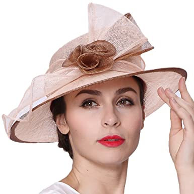 June s Young Lady Champagne Brown 3 Layers Sinamay Wedding Hats ... 07755fc2b86