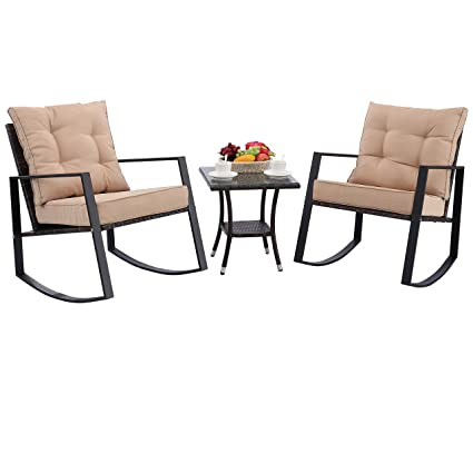 Fantastic Do4U Outdoor Rocking Chair Set 3 Piece Patio Bistro Set Cushioned Brown Pe Wicker Rattan Chairs With Coffee Table Porch Backyard Pool Garden Ibusinesslaw Wood Chair Design Ideas Ibusinesslaworg