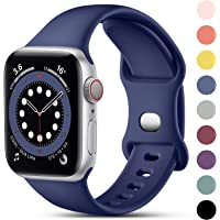 CeMiKa Kompatibel med Apple Watch-rem 38 mm 40 mm 42 mm 44 mm, mjukt silikon sportband kompatibla med iWatch SE Series 6…