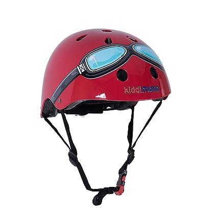 KIDDIMOTO Casco Bicicleta/Cascos para Infantil/Bici Casco para Patinete, Ciclismo Montaña, BMX, Carretera Skate, Patines, Monopatines - Gafas Rojas