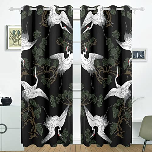 ALIREA Japanese Crane Pattern Blackout Curtains Darkening Thermal Insulated Polyester Grommet Top Blind Curtain