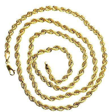 bacf9db0deb44 10K Yellow SOLID Gold Rope Chain Necklace 4MM wide