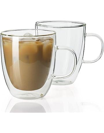 e196a67d11a Sweese 4602 Glass Coffee Mugs - 12.5 oz Double Walled Insulated Mug Set  with Handle,