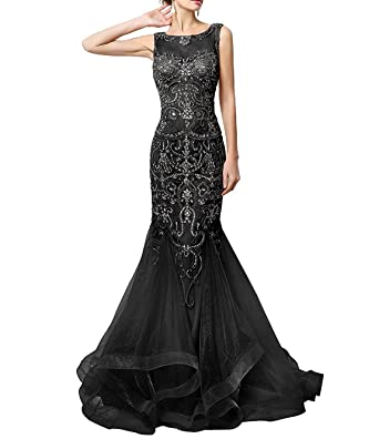 Fashionbride Prom Dresses Long 2018 With Crystals Mermaid Formal Evening Gowns F325BK-US2