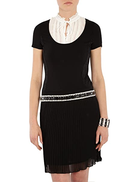 Morgan - Vestido plisado con volantes de manga corta para mujer, color negro, talla
