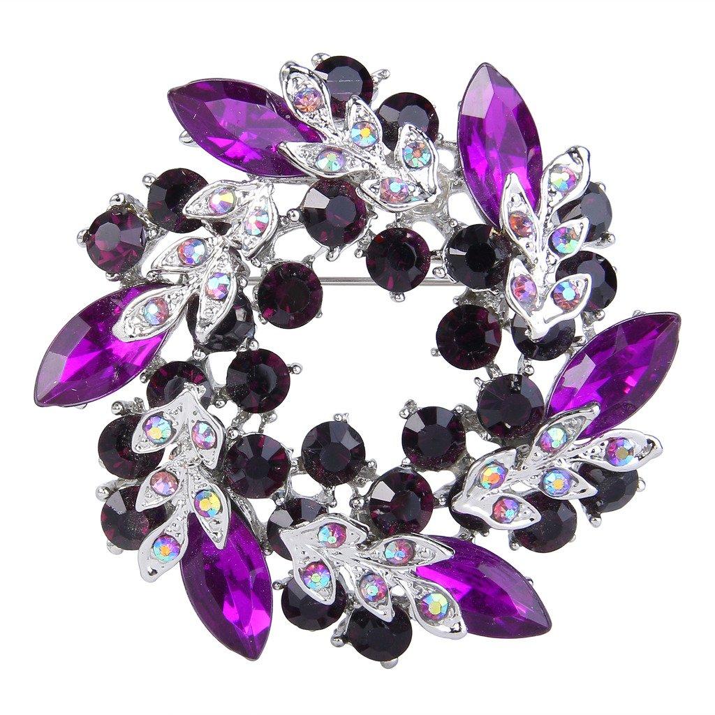 EVER FAITH Silver-Tone Austrian Crystal Wedding Flower Wreath Brooch Pin Purple w/ Dark Purple