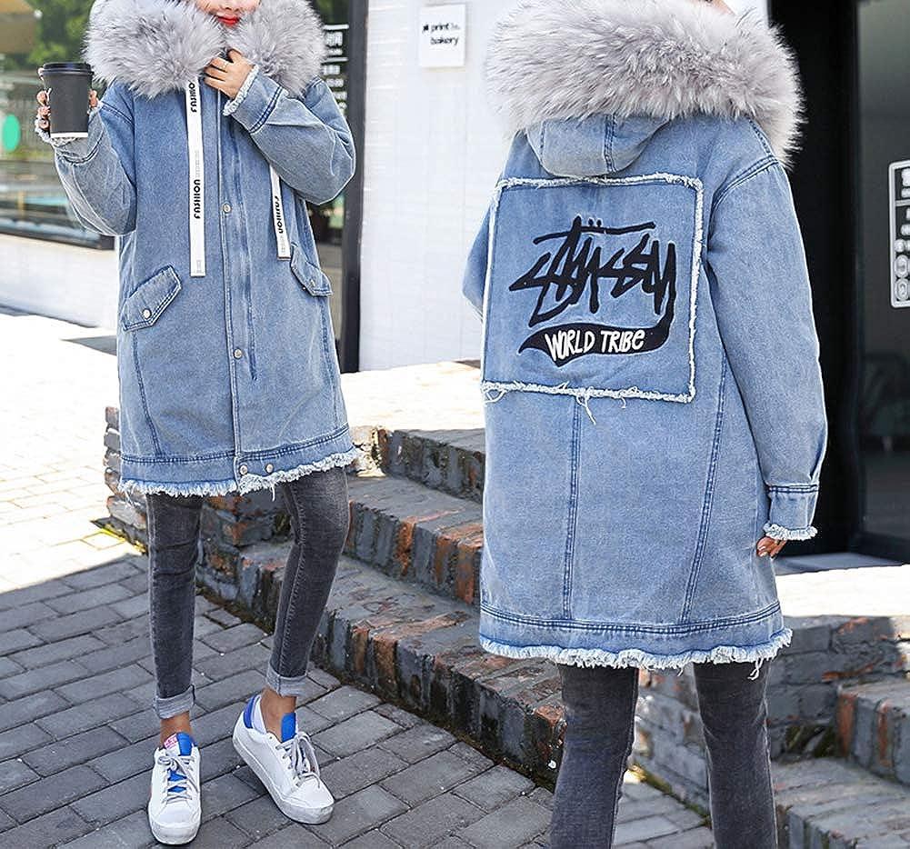 Scothen Jeans Veste dhiver Blazer Shirt Femme Veste Denim doubl/ée avec la Veste Automne Veste /à Capuche Veste en Jean /à Capuchon de Fourrure Femme Manteau dhiver Outwear
