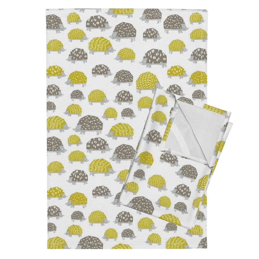 Roostery Hedgehog Animal Cute Kawaii Kids Block Print Tea Towels Hedgehogs - Goldenrod/Silver by Andrea Lauren Set of 2 Linen Cotton Tea Towels