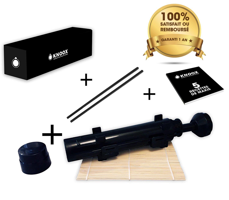 ✅ Appareil à sushis - Black Sushi bazooka - PACK 5EN1: 1 Natte en bambou +1 Livret de recettes + 1 Manuel d'utilisation + 1 Paire de Baguette - Kit pour faire des Makis esthétiques simplement à la m