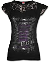 Spiral - Women - WAISTED CORSET - Lace Layered Cap Sleeve Top Black