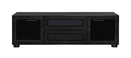 Majestic EX 70-inch American Solid Wood Media Console TV Stand AV Cabinet for Most Flat Screen TVs to 75 Black on Ash, Black HW