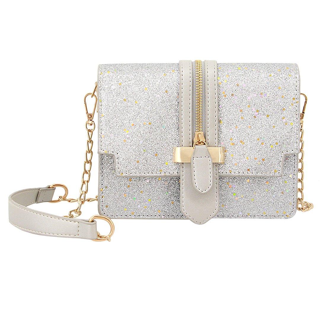 Gabrine Womens Girls Fashion Elegant Shoulder Crossbody Bag Handbag Clutch Purse Glitter Bling Sparkling Sequins Little Stars for Dailywear Wedding Party Prom Travel(Silver)