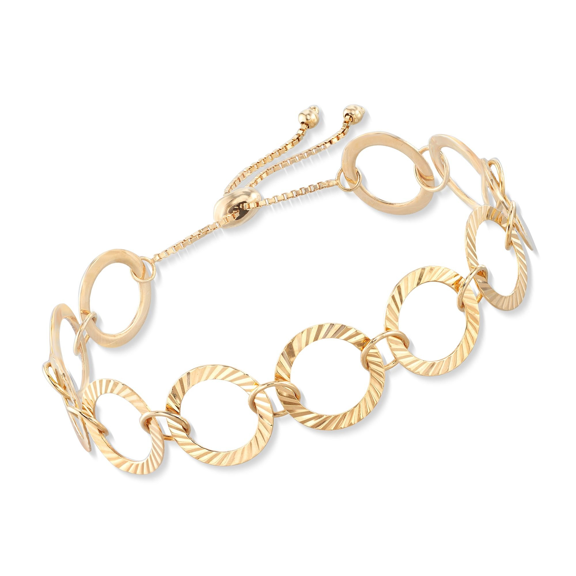 Ross-Simons 18kt Gold Over Sterling Silver Crimped Circle-Link Bolo Bracelet