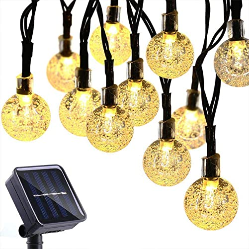 Zuoyour Globe Solar String Lights, 50LED 23FT Waterproof Fairy Lights with Memory, 8Modes Crystal Ball Lighting for Christmas Decorations, Patio, Lawn, Garden, Wedding, Party