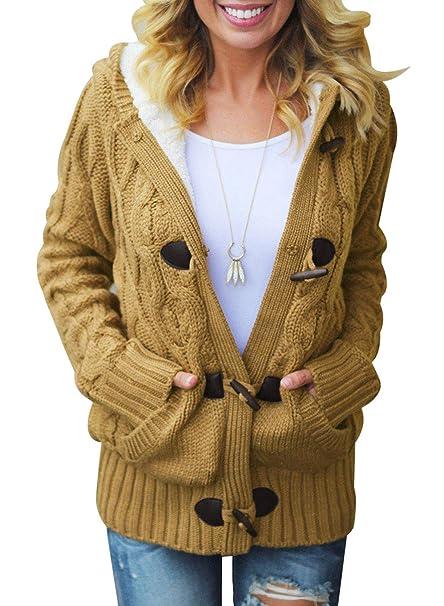 buy online 6950e d5b12 Happy Sailed Damen Langarm Strickjacke Cardigan Strickcardigan Hoodie Jacke  mit Kapuze XS-XXL