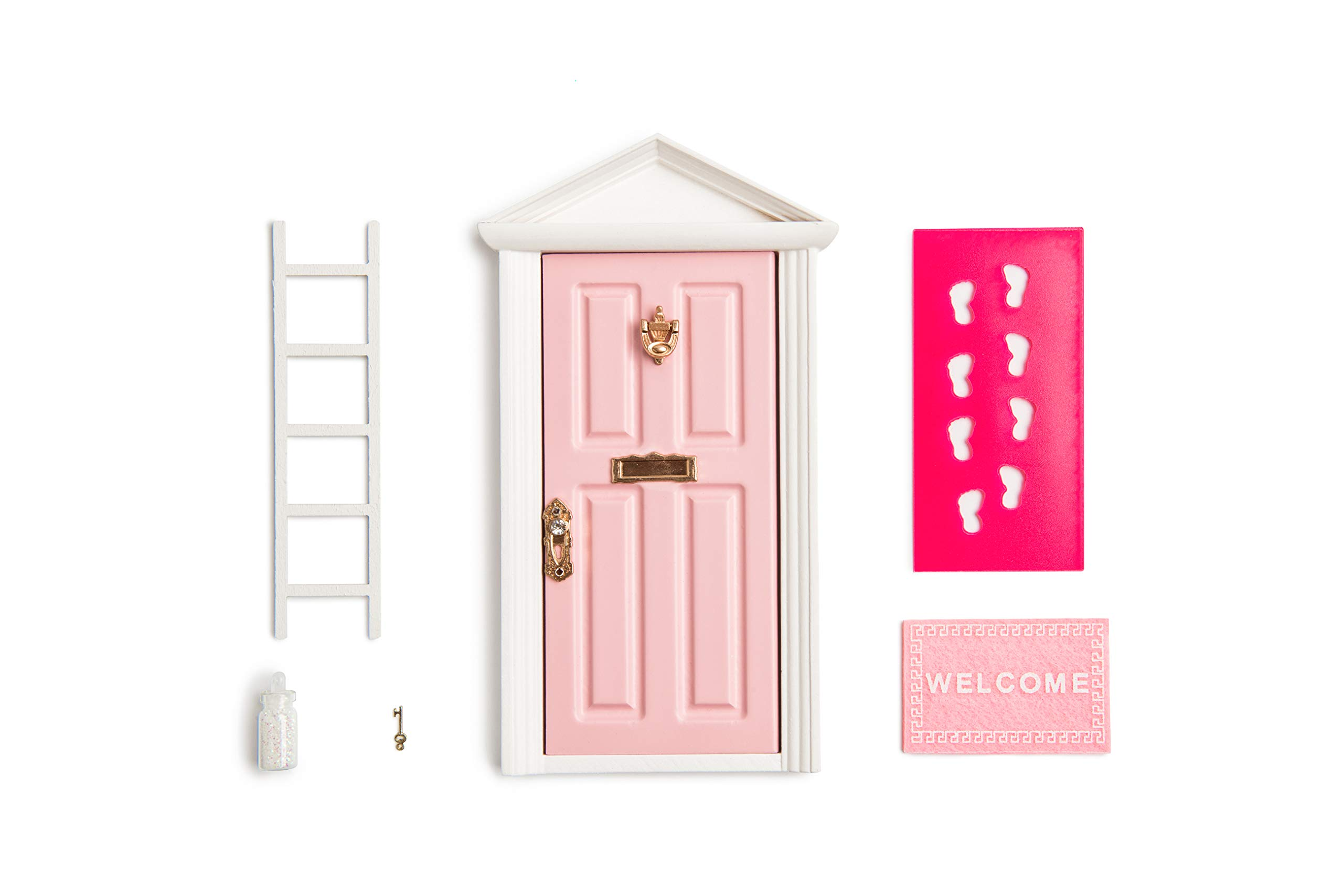 blminiatures The Little Wooden Fairy Door Thats Open Pink Fairy Door Open Outwards Fairy Door Accessories Comes with Fairy Key,Fairy Dust,Foot Stencil,Welcome Mat
