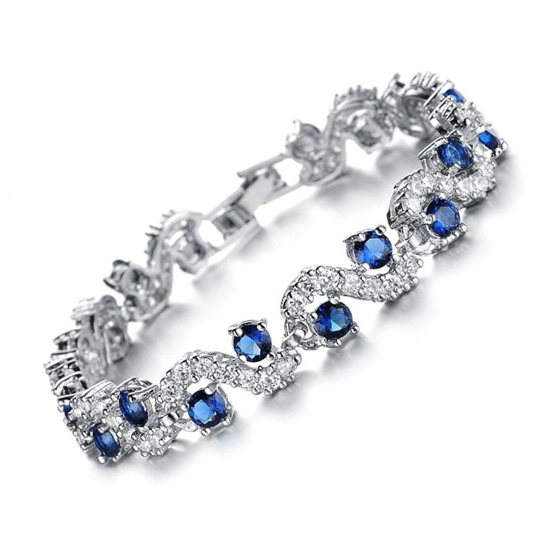 Blue Rhinestone Bracelet,Tennis Bracelet Cubic Zirconia Crystal Bangle Wedding Bridal Jewelry Christmas Gifts For Women (Blue - 7.4'')