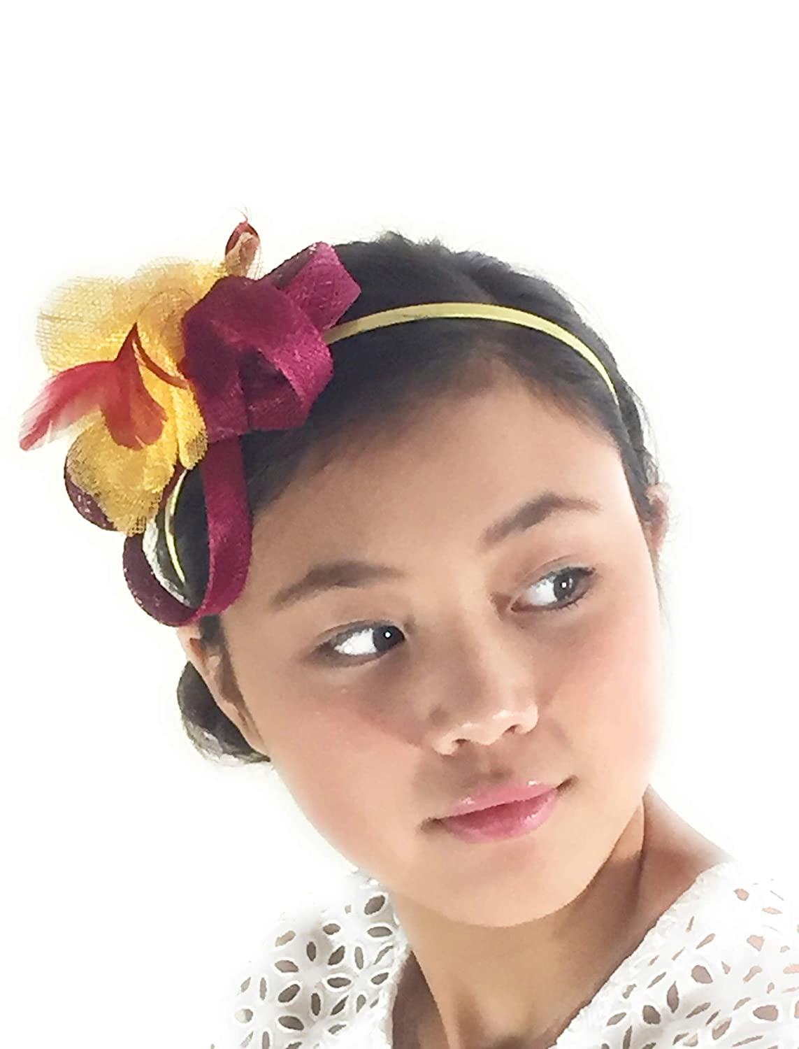 Gab   Koko Yellow and Magenta Floral Fascinator Headband Made of Sinamay  and Feathers at Amazon Women s Clothing store  731a31b59f1
