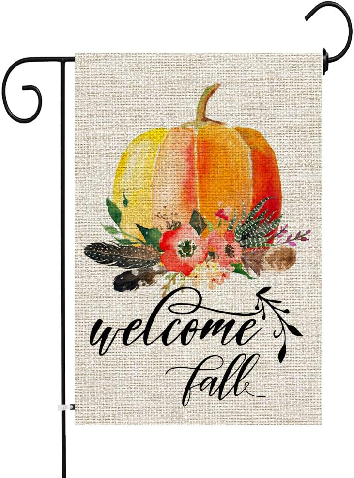 JOCACTI Welcome Fall Pumpkin Garden Flag 12.5 x 18 Inches Vertical Double Sided Farmhouse Autumn Burlap Yard Outdoor Decor, with Rubber Stopper and Anti-Wind Clip