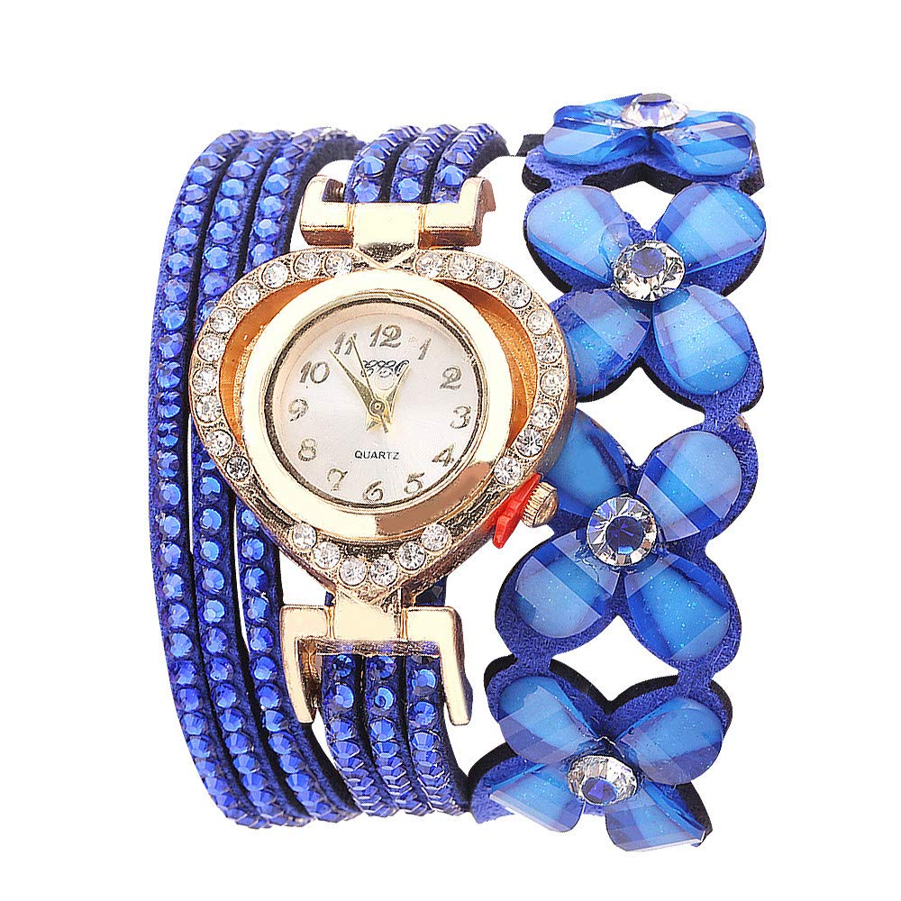 Women Watches for Sale,Stylish Quartz Flowers Geneva Watches Bracelet Diamond Watch(Blue) by Woaills Watch