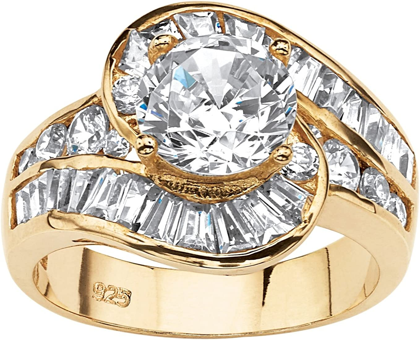 14K Yellow Gold over Sterling Silver Round Cubic Zirconia and Baguette Cut Swirl Engagement Ring
