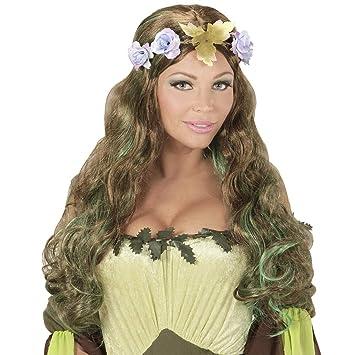 NET TOYS Peluca de fantasía elfa del Bosque con Corona de Flores | Moreno-Verde