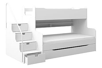 Dreier Etagenbett : Etagenbett max mit schubkastentreppe in weiß amazon küche