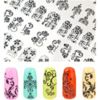 Elite99 3D Fashion Gold Nail Art Stickers Decals Easy Diy Manicure Nail Stencil Decoration Sheets Black