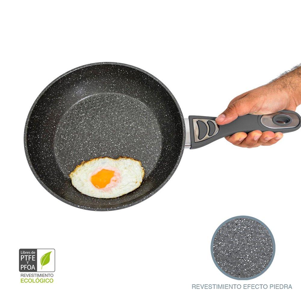 Cecotec Sartén de 20cm con Revestimiento cerámico ecológico de Piedra. 5 mm de Grosor. Aptas para Todas Las cocinas, Incluidas Las de inducción. Tasty Cook ...