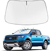 Front Windshield Sunshade Foldable Sun Shade Protector Custom Fit 2021 2020 2019 Ford Ranger, XL, XLT, Lariat…