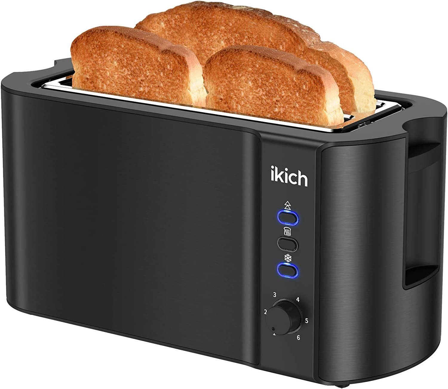IKICH Toaster 4 Slice, Toaster 2 Long Slot Stainless Steel, Warming Rack, 6 Browning Settings, Defrost/Reheat/Cancel, Removable Crumb Tray, 1300W (Renewed)