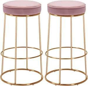Duhome Velvet Bar Stools Set of 2, Gold Bar Stool Kitchen Stool, Modern Counter Height Bar Stools Breakfast Dining Chairs Counter Stool 28 Inches Salmon Pink