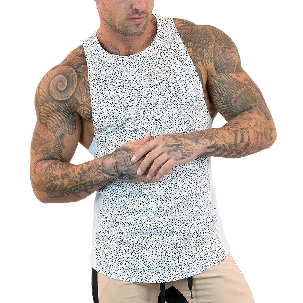 Men/'s New Summer Printed Vest for Summer Simple Fashionable Sports Fitness Vest