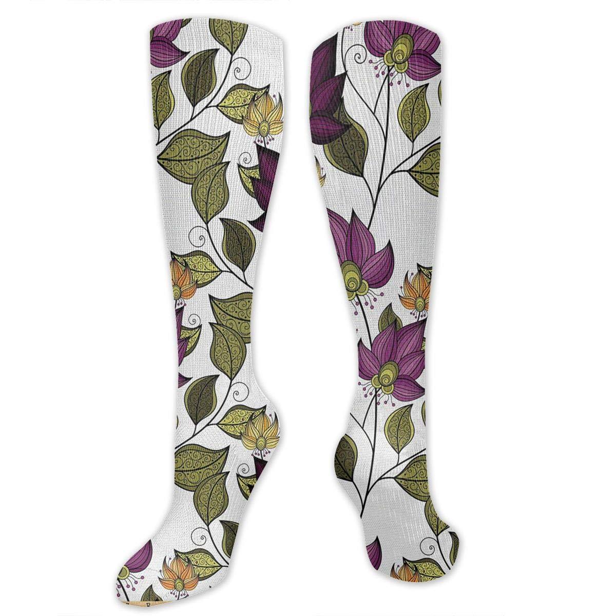 Chanwazibibiliu Vibrant Colored Floral Pattern Mens Colorful Dress Socks Funky Men Multicolored Pattern Fashionable Fun Crew Cotton Socks