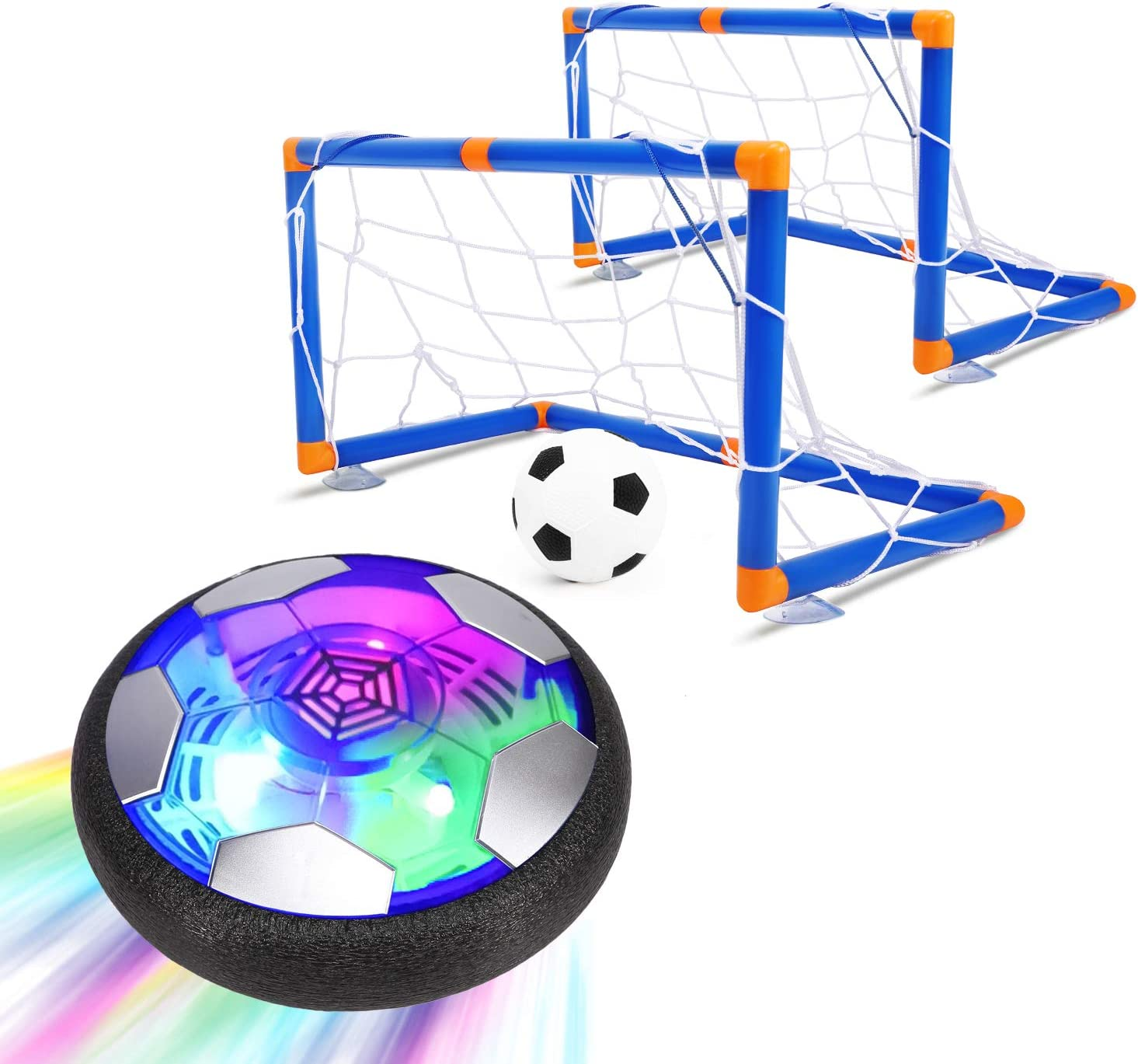 2020 Version Growsland 2 in 1 Starlight Hover Soccer Ball Set with 2 Goals Kid Projector Toys Rechargeable Air Soccer with LED Light /& Foam Bumper Outdoor Indoor Toy Ideal Gift for Toddler Boy Girl