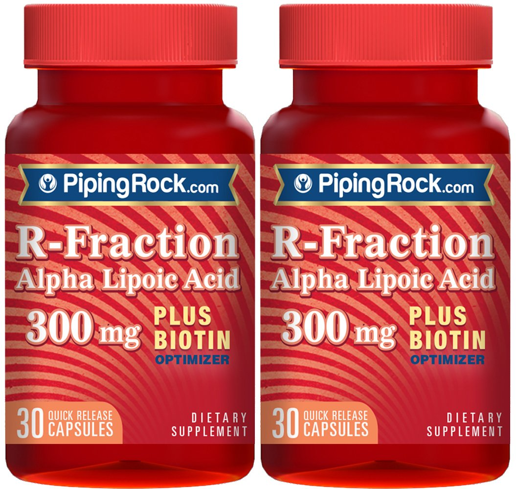 Piping Rock R-Fraction Alpha Lipoic Acid plus Biotin Optimizer 300 mg 2 Bottles x 30 Quick Release Capsules Dietary Supplement