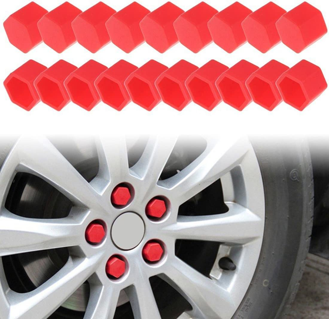 X AUTOHAUX 20pcs 17mm Universal Red Silicone Car Wheel Nut Lug Hub Screw Rim Bolt Covers Dust Protection Tyres Screw Caps