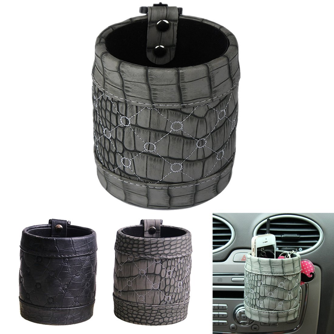 Chytaii Car Air Outlet Phone Pocket Pouch Bag Storage Organiser Holder Mobile Phone Auto Arrangement Storage Carriage Bag Case with Hook Grey