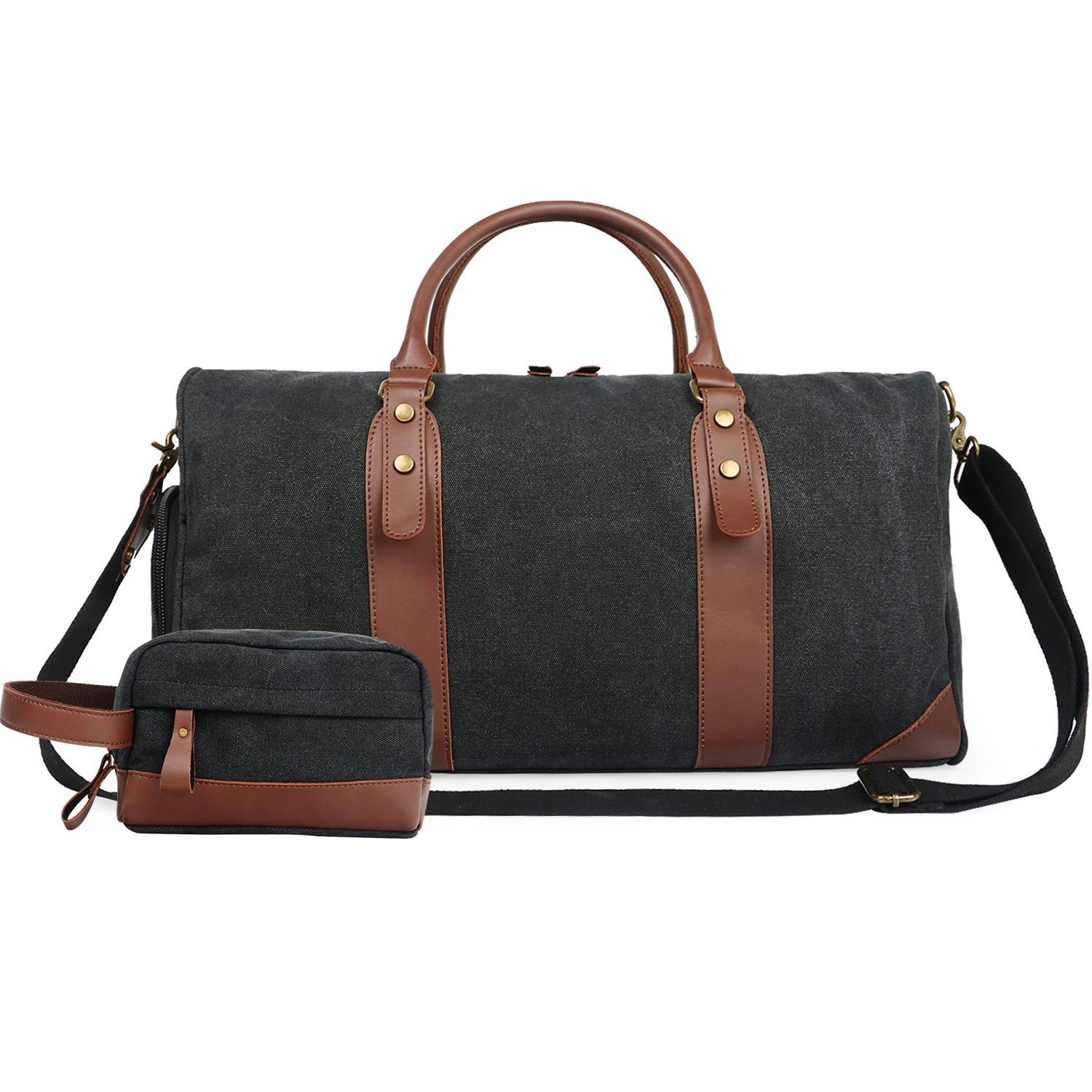 Oflamn 21'' Large Duffle Bag Canvas Leather Weekender Overnight Travel Carry On Bag - Free Toiletries Bag (Black)